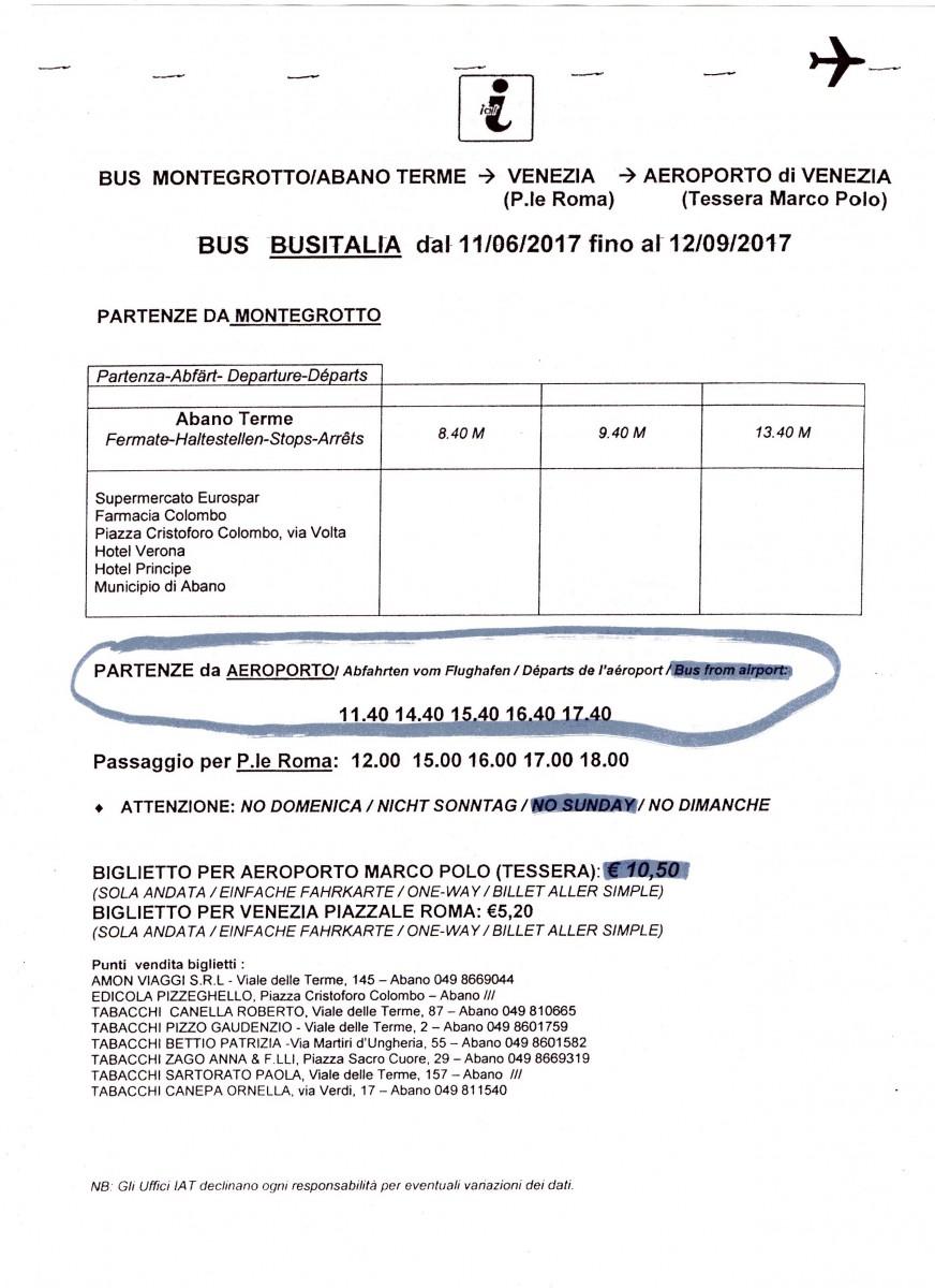 Абано Терме как добраться - расписание автобуса из аэропорта Венеции в Абано Терме
